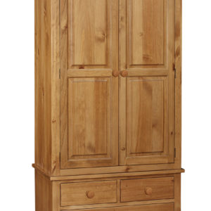 The Rutland Pine Double Wardrobe with Drawers