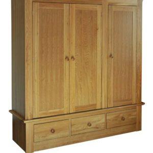 Siena Oak Triple Wardrobe with Drawers