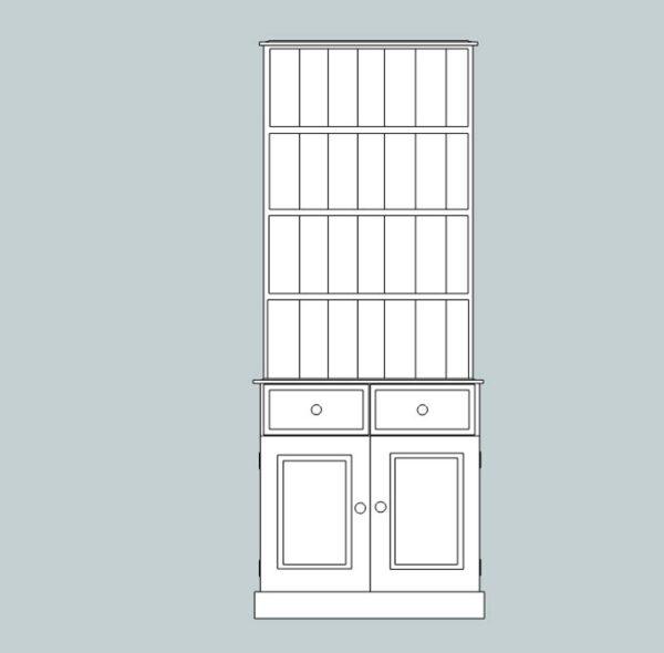 Somerset Pine 2 Door Dresser with open rack