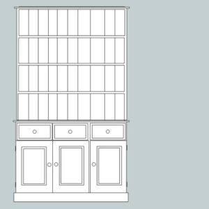Somerset Pine 3 Door Dresser with open rack