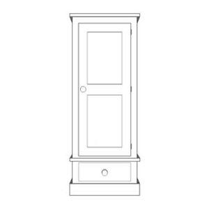 Sussex Pine 1 Door Wardrobe With Drawer