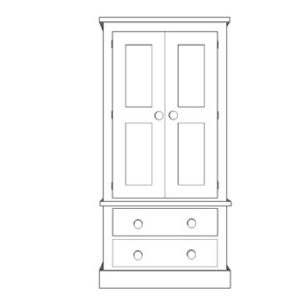 Sussex Pine Wardrobe with 1 + 1 Drawers