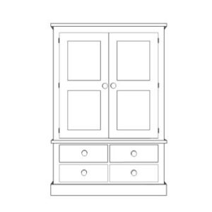 Sussex Pine Wardrobe with 2 + 2 Drawers