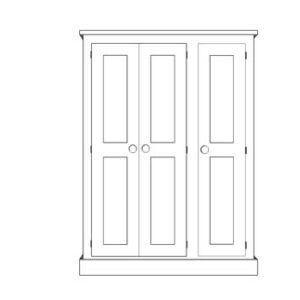 Sussex Pine 3 Door Triple Wardrobe 1350w