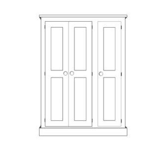 Sussex Pine 3 Door Triple Wardrobe 1350w