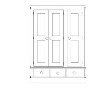 Sussex Pine 3 Door Triple Wardrobe with Drawers 1350w