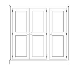 Sussex Pine 3 Door Triple Wardrobe 1875w