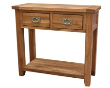 Tuscany Oak Console Table With 2 Drawers