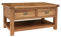 Tuscany Oak Coffee Table With Two Drawers
