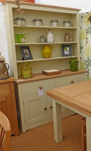 Devon Oak Dresser Painted Green Ground