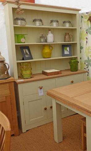 Devon Oak Dresser Painted Green Ground