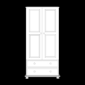Wiltshire Pine 2 Door 2 Drawer Gents Robe